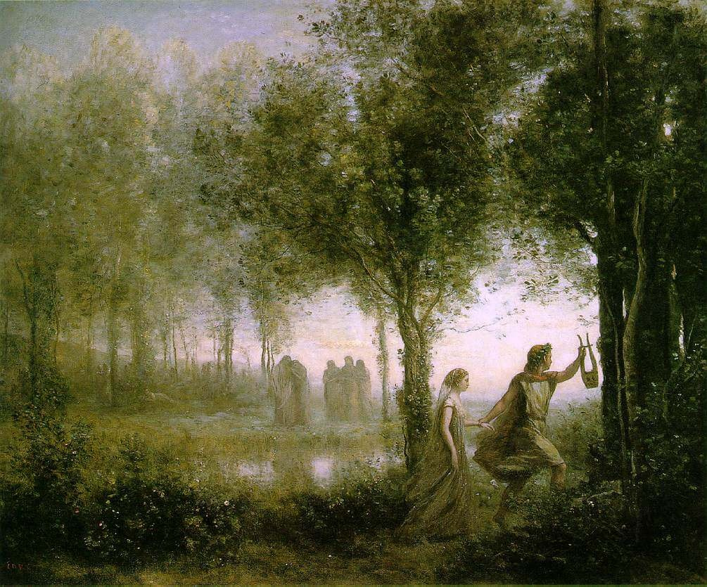 corot orpheus leading eurydice out from the underworld